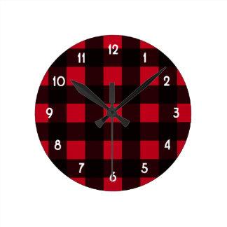 Red Buffalo Plaid Clocks