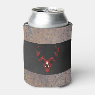 Red Buffalo Plaid Deer Head Monogram Can Cooler