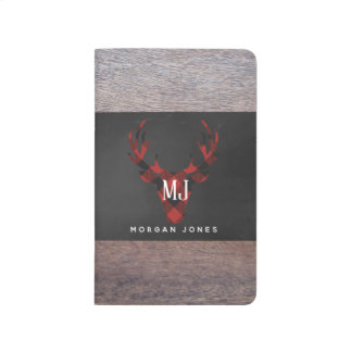 Red Buffalo Plaid Deer Head Monogram Journal