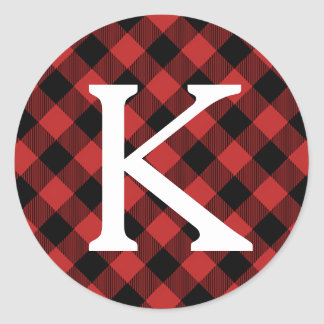 Red Buffalo Plaid Holiday Initial Monogram Classic Round Sticker