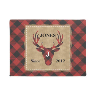 Red Buffalo Plaid Monogram Deer Head Doormat