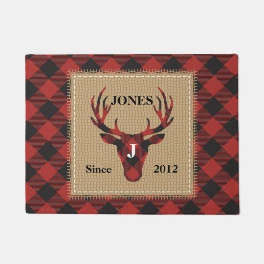 Red Buffalo Plaid Monogram Deer Head Doormat