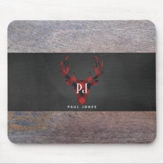 Red Buffalo Plaid Monogram Deer Head Mouse Mat
