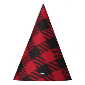 Red Buffalo Plaid Party Hats