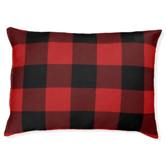 Red Buffalo Plaid Print Pattern Pet Bed