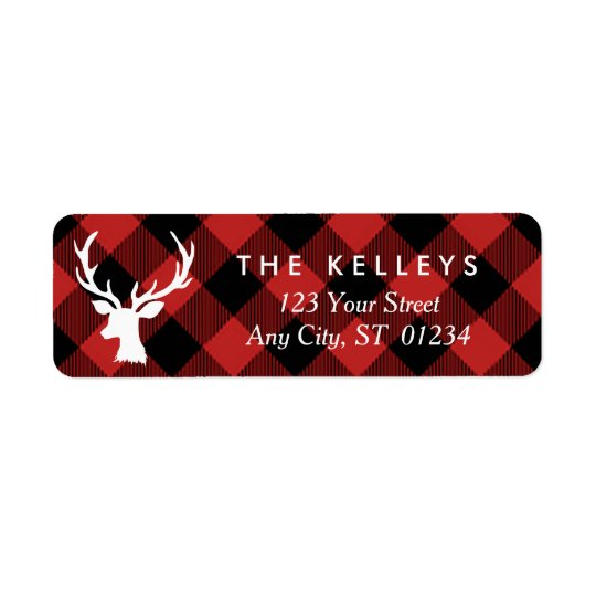 Red Buffalo Plaid with Deer Holiday Address
