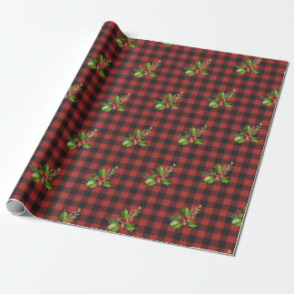 Red Buffalo Plaid With Holly Branch Wrapping Paper