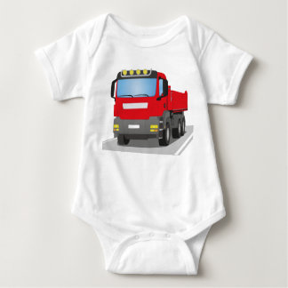 red building sites truck baby bodysuit