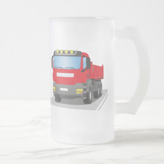 red building sites truck frosted glass beer mug