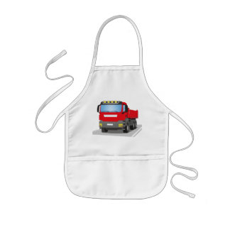 red building sites truck kids apron