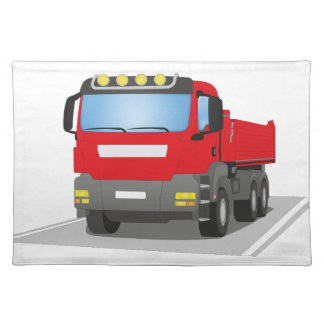 red building sites truck placemat