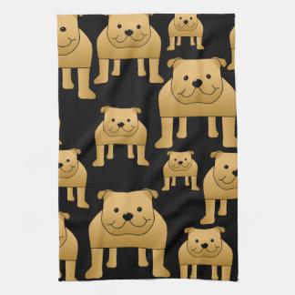 Red Bulldogs on Black. Tea Towel