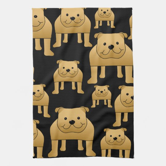 Red Bulldogs on Black. Tea Towel