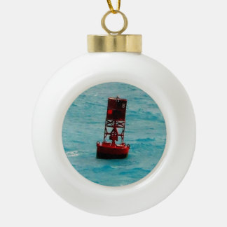 Red Buoy Ceramic Ball Christmas Ornament