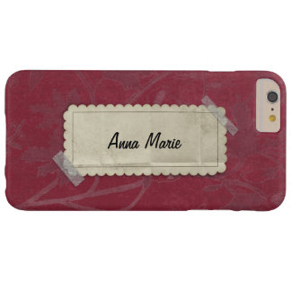 Red Burgandy Flowers with Taped Label Barely There iPhone 6 Plus Case