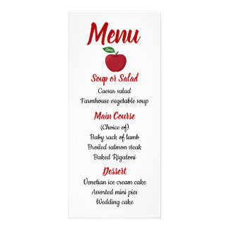 Red Burgundy Apple Menu Fall Country Rustic
