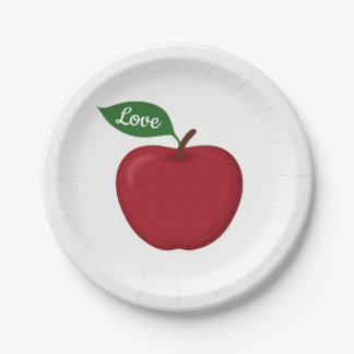 Red Burgundy Apple Rustic Country Wedding Party Paper Plate
