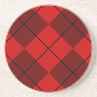 Red & Burgundy Argyle Drink Coaster