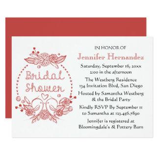 Red Burgundy Bridal Shower Lovebirds Floral Wreath Card