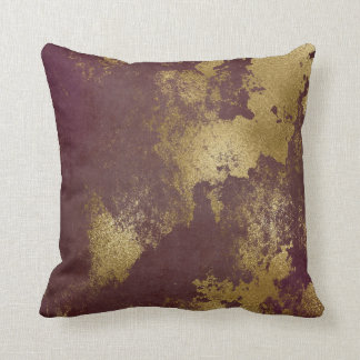 Red Burgundy Distressed Grungy Gold Wall Cushion