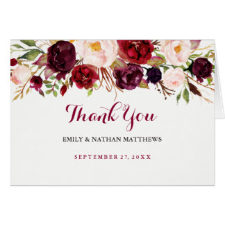 Red Burgundy Floral Wedding Thank You Card