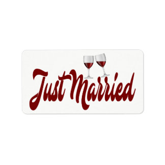 Red Burgundy Just Married Wine Glasses Wedding Address Label