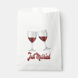 Red Burgundy Just Married Wine Glasses Wedding Favour Bags
