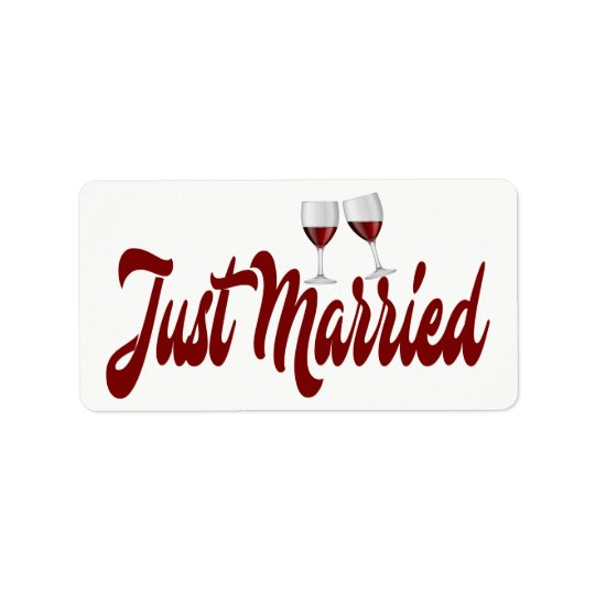 Red Burgundy Just Married Wine Glasses Wedding Label