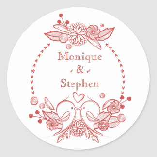 Red Burgundy LoveBirds Floral Personalized Name Round Sticker