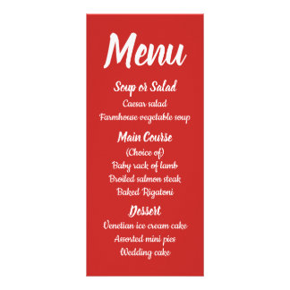 Red Burgundy Menu Fall Country Rustic Wedding