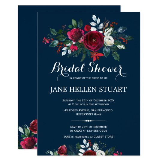 Red burgundy navy blue winter floral bridal shower