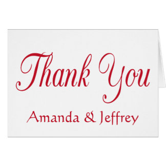 Red Burgundy Thank You Personalized Wedding Card