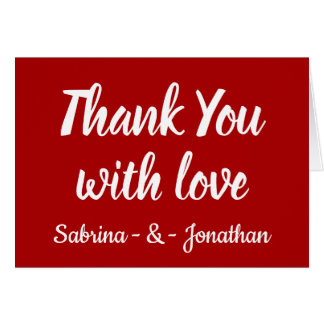Red Burgundy Thank You Wedding Party Fall Country Card