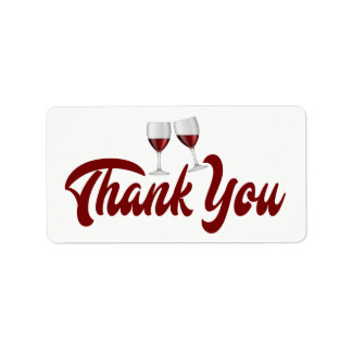 Red Burgundy Thank You Wine Glasses Wedding Address Label