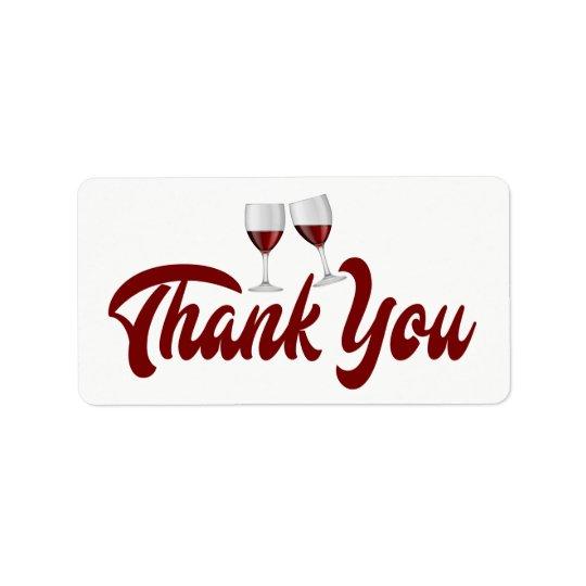 Red Burgundy Thank You Wine Glasses Wedding Address Label