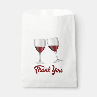 Red Burgundy Thank You Wine Glasses Wedding Favour Bags