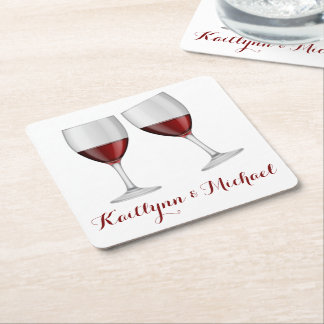 Red Burgundy Wine Champagne Glasses Wedding Party Square Paper Coaster