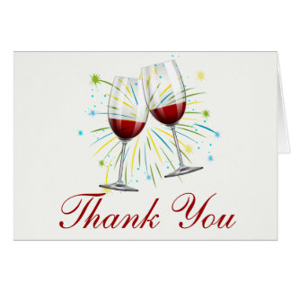 Red Burgundy Wine Glasses Wedding,Thank You Card