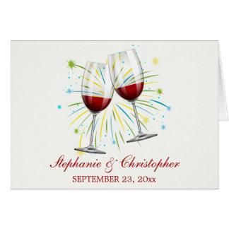 Red Burgundy Wine Glasses Wedding,Thank You Card