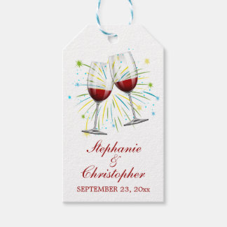 Red Burgundy Wine Glasses Wedding Vineyard Winery Gift Tags