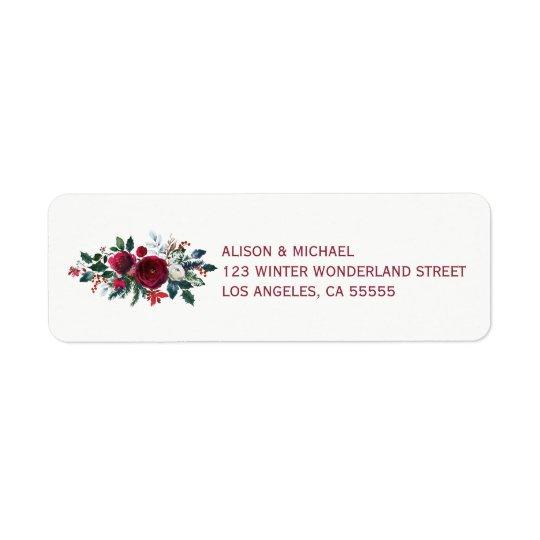 Red burgundy winter peonies wedding elegant chic return address label