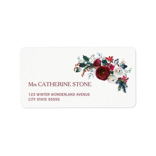 Red burgundy winter peony flowers elegant address address label