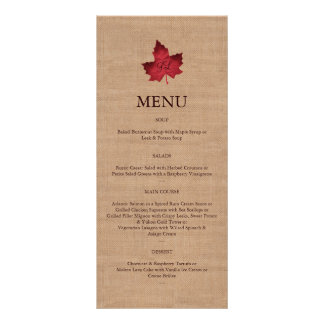 Red Burlap Monogrammed Menu
