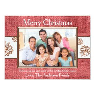 Red Burlap Pinecones Photo - 6x8 Christmas Card