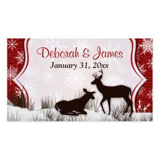 Red Burlap, Snowflakes, Deer Wedding Favor Tag Business Card Templates