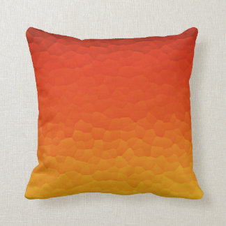 Red Burnt Orange to Gold Ombre Crackle Pattern Cushion