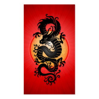 Red Burst Chinese Dragon Business Card Template