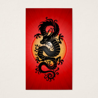 Red Burst Chinese Dragon Business Card