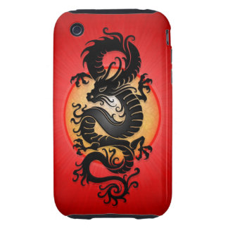 Red Burst Chinese Dragon Tough iPhone 3 Cases