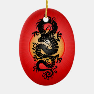 Red Burst Chinese Dragon Christmas Ornament